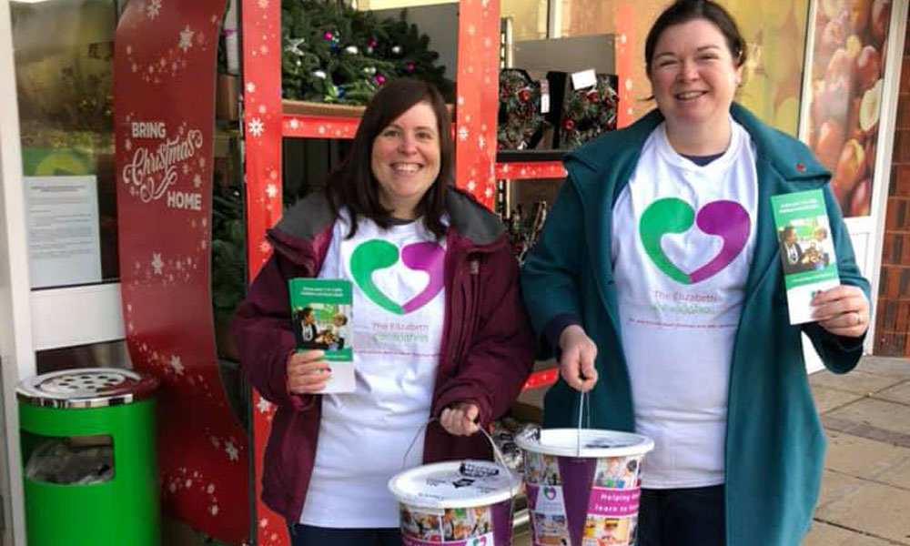 Bucket collection in aid of The Elizabeth Foundation for preschool deaf children
