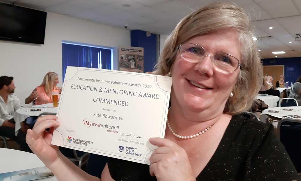 Volunteer Kate Bowerman with Volunteering Commendation