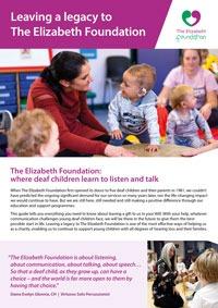 The Elizabeth Foundation's Legacy leaflet